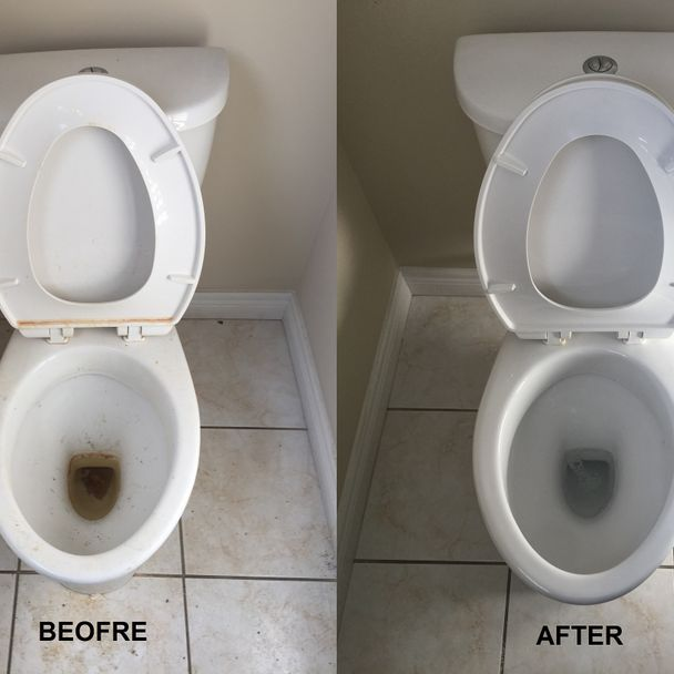 dirty and clean toilet comparison